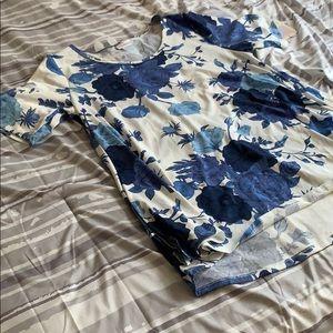 LulaRoe Perfect Tee Blue Floral